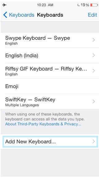 Add or update new keyboard