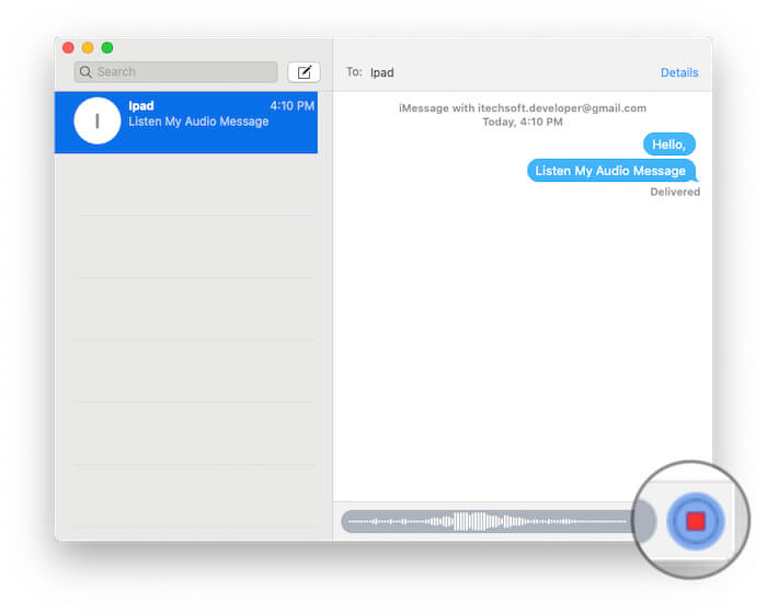 stop recording and ready to send on iMessage
