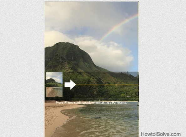 swipe white arrow to take panorama Photo in iOS 8