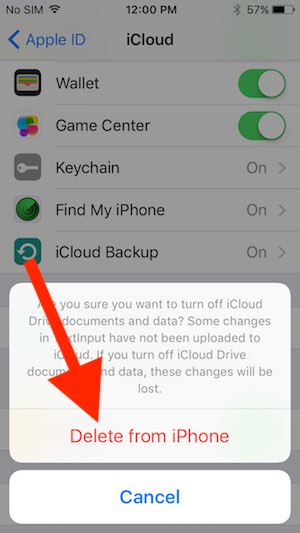 4 Disable iCloud drive on iPhone