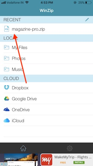 5 Copy or Save Zip File in to WinZip iPhone app
