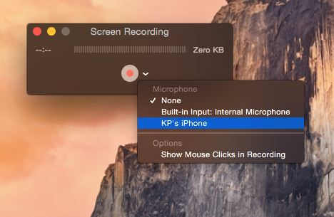 Start Screen recording - Record iPhone and iPad screen in your Mac Yosemite