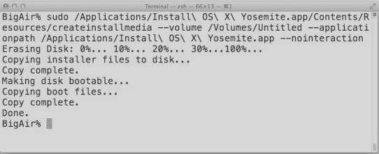 Yosemite USB preparation command for Mac