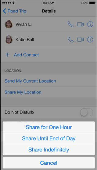 share your location in iPhone message
