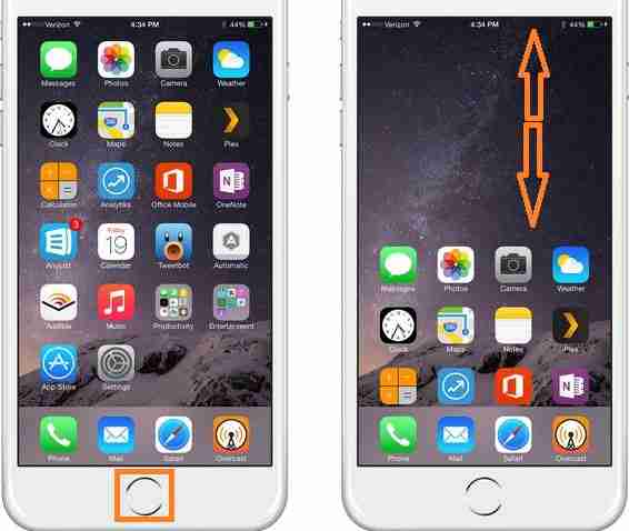 Double tap home button in iPhone 6 to start Reachability