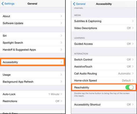 Enable Reachability in iPhone 6 and 6 plus under the Accessibility in iOS 8
