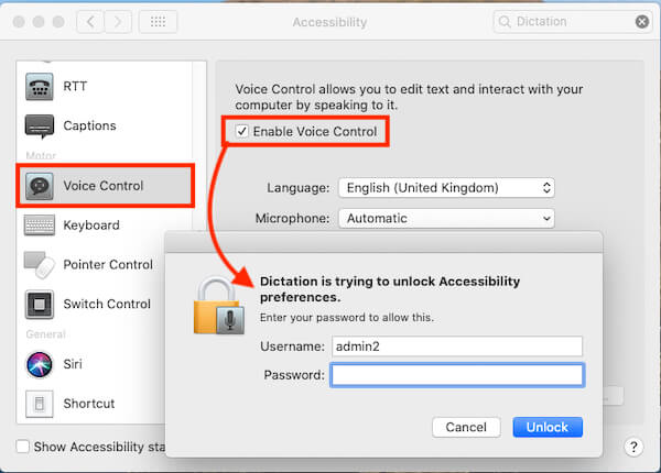 Enable Voice Control on Mac