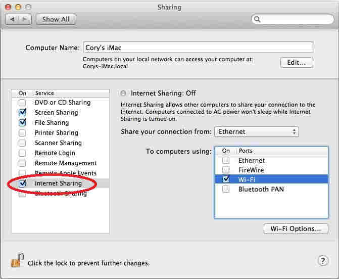 enable hotspot on Mac, Turn on internet sharing