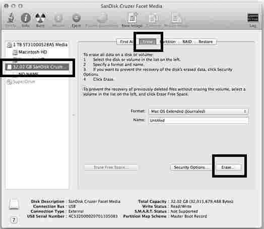 Clean USB installer drive in Mac before run Yosemite