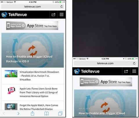 Brower view in Reachability enabled iPhone 6 and 6 plus screen