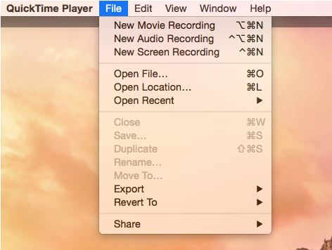 Launch QuickTime and start recording screen from File menu