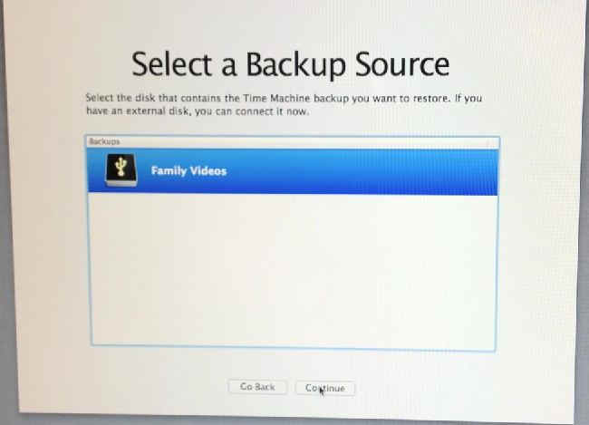 choose old backup drive