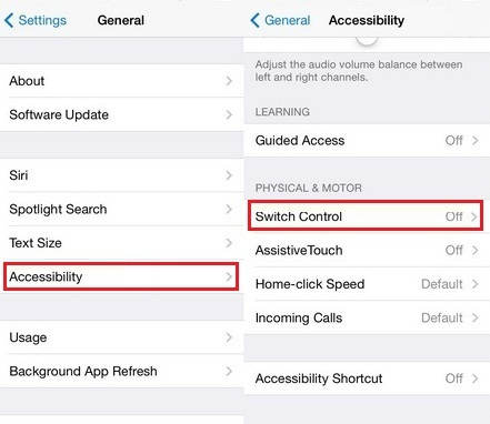 settings of how to Switch control on iPad