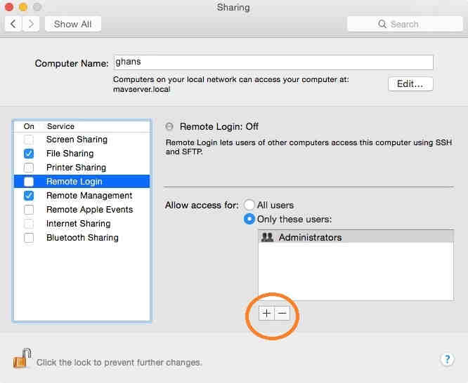 Sharing option on Mac OS X Yosemite for remote access