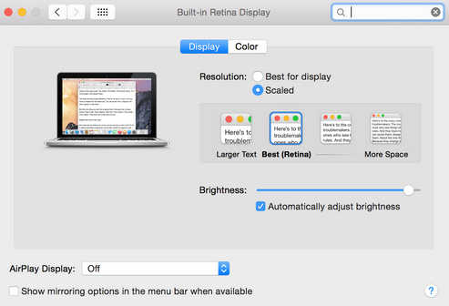 adjust manual screen resolution on your 13 inch MacBook Pro