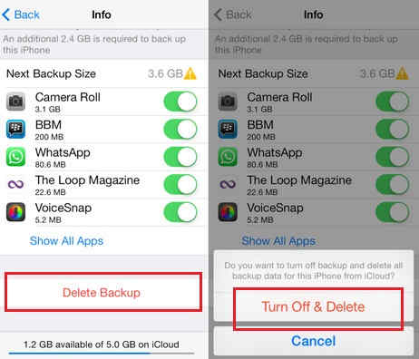 Delete all iPhone backup