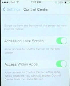 Get control center on lock or home screen in iOS 8