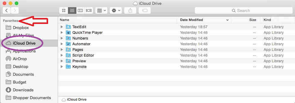 iCloud Drive in Mac OS X under the favorite