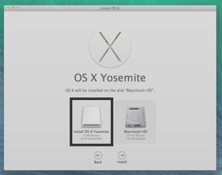 installar OS X yosemite screen in Mac