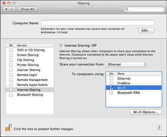 Enable WiFi sharing option