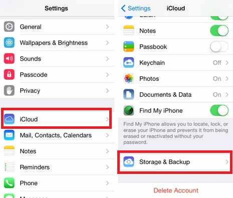 Manage iCloud backup from iCloud app - delete old iPhone backups