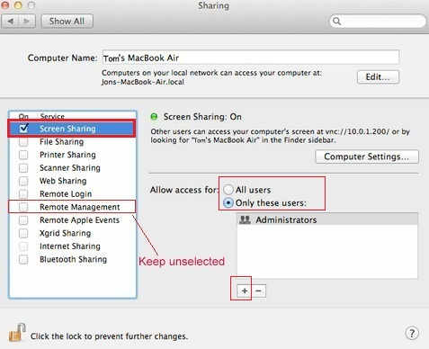 Share Screen One Mac to other Mac using this setup