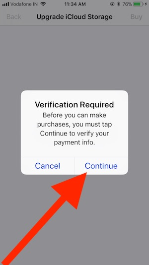 3 Continue to Payment Verification and Upgrade iCloud