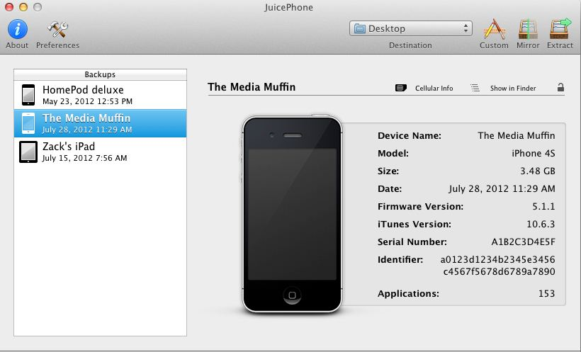 Connect your iOS device to Mac and Extract it using JuicePhone