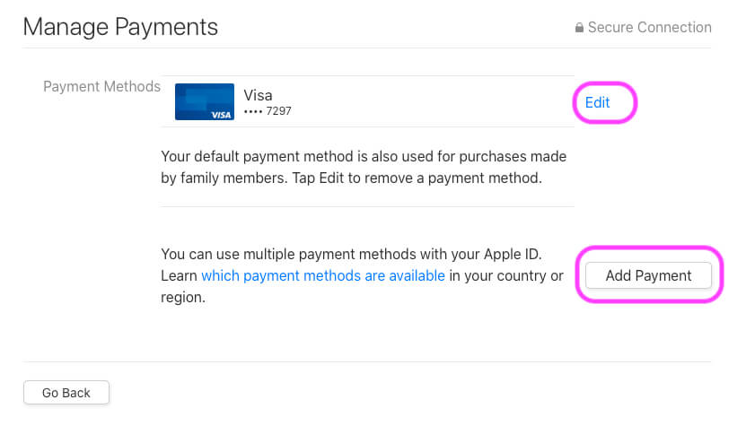 Edit Existing Payment Details or Add new Payment in your Account on MacBook mac