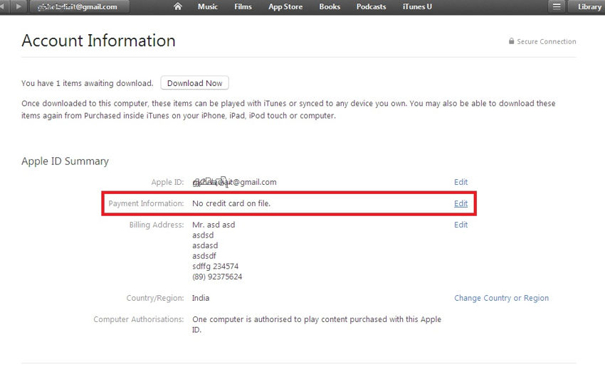 Under the iTunes account option Edit payment information