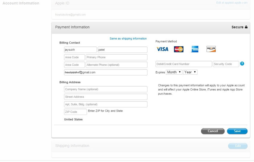 Edit valid payment details in App store for purchase