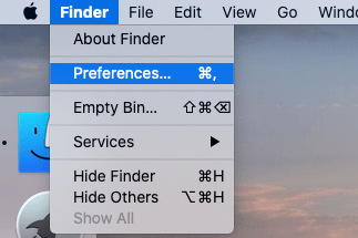 Finder Preferences settings option on Mac