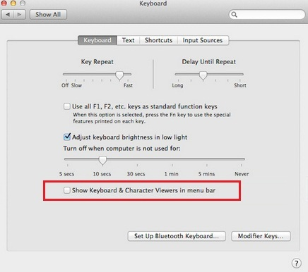 Keyboard viewer enable how to in OS X Yosemite