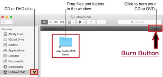 burn DVD using Finder on Mac OS X Yosemite