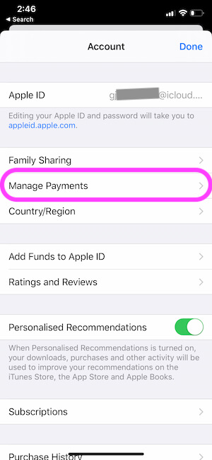 Manage Payments on iPhone from Settings app