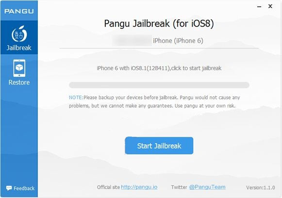 Start steps for Jailbreak iOS 8 running on iPhone and iPad
