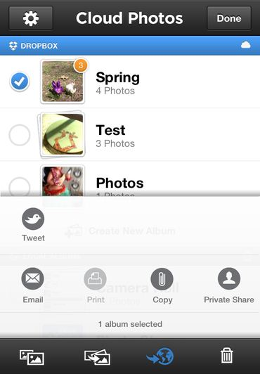 Camera option in Cloud photo apps