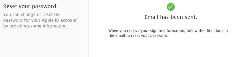 Sent Apple ID on your registered email ID