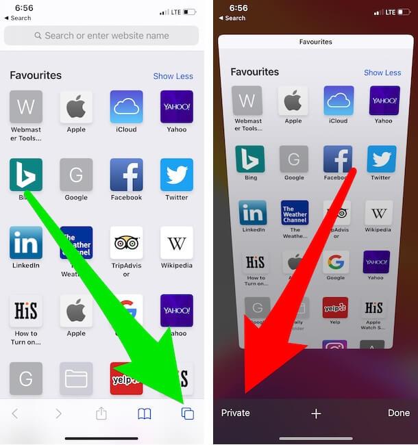 Tap on Tab Switcher button on iPhone safari