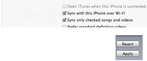 Enable Wi-Fi option for iPhone, iPad and iPod sync