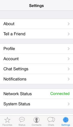 WhatsApp App Setting screen for iPhone on iOS