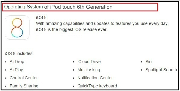 Overview of iPod touch 6th Generation operating system
