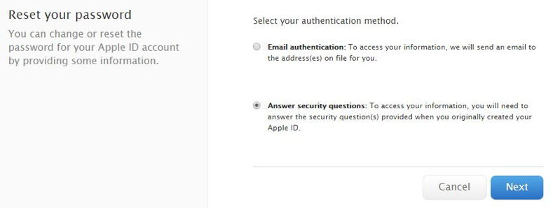 Get Apple ID through security question