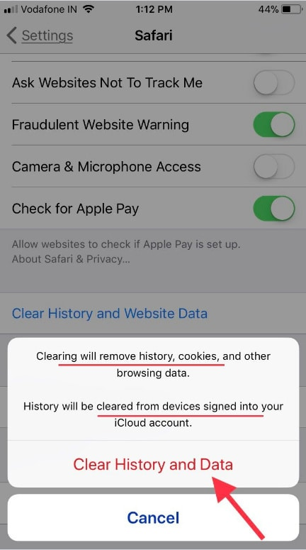 tap on confirm clear history and data on iPhone iPad Safari browser
