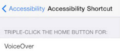 picture of Accessibility shortcut and its functions on iOS 8