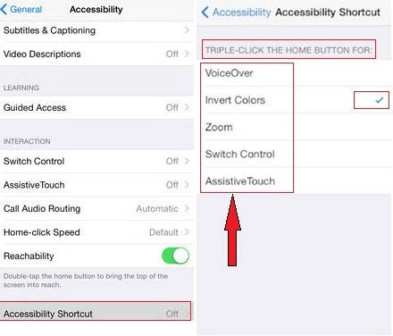 screen for turn on and turn off Accessibility shortcut on iOS 8