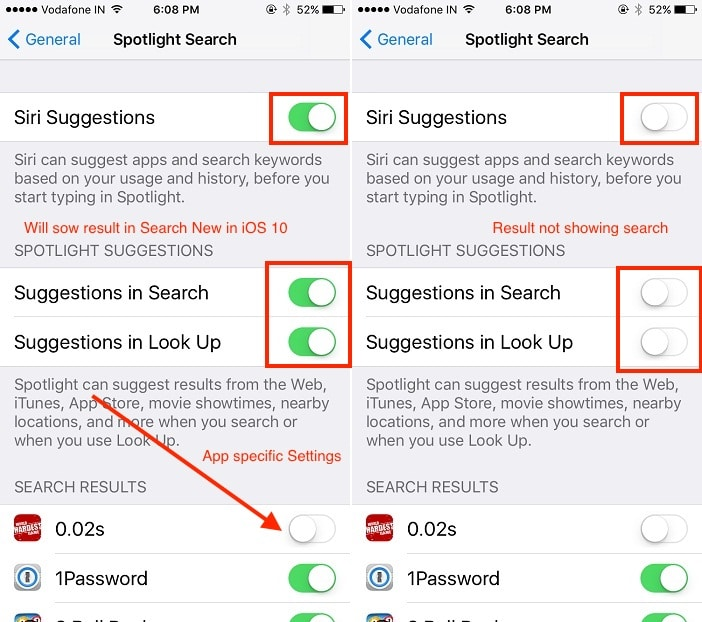 1 Enable or Disable by custom settings in Spotlight search iPhone and iPad