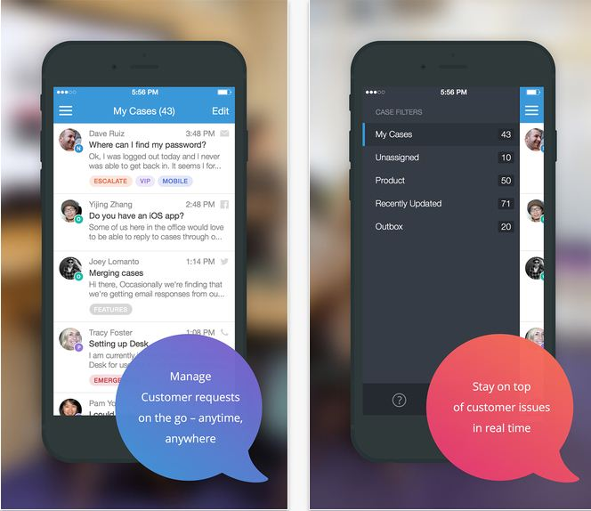 CRM app for iPhone and iPad by Desk
