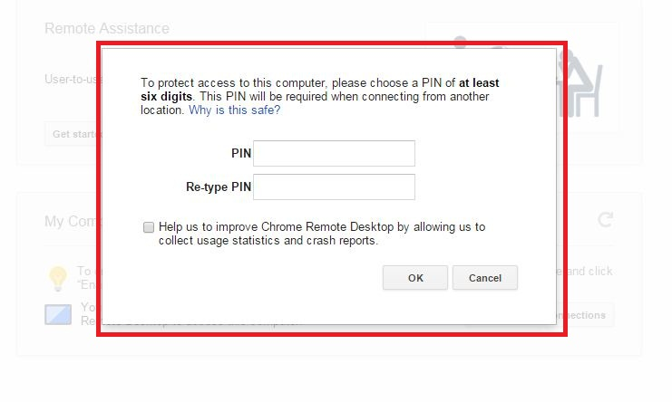 Security pin for access PC remotely on iOS device