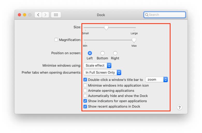 Customize Dock on Mac Desktop Screen